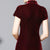 Cap Sleeve Tea Length Velvet Cheongsam Qipao Dress