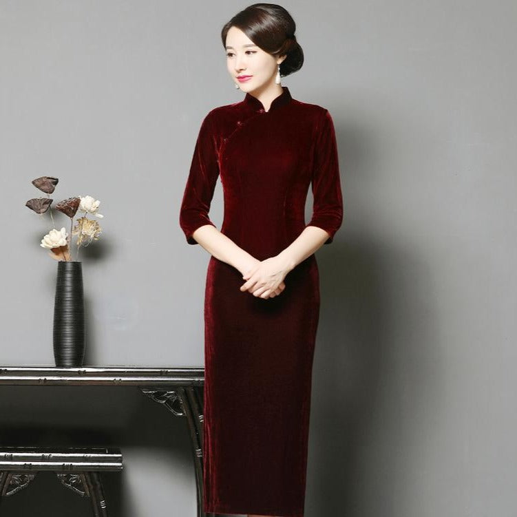 72996311d 3/4 Sleeve Tea Length Velvet Cheongsam Qipao Dress – IDREAMMART
