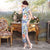 Full Length Floral Silk Blend Cheongsam Chinese Dress