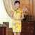 Knee Length Real Silk Cheongsam Floral Chinese Dress