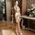 Cap Sleeve Real Silk Cheongsam Keen Length Chinese Dress