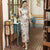 Cap Sleeve Real Silk Cheongsam Full Length Chinese Dress