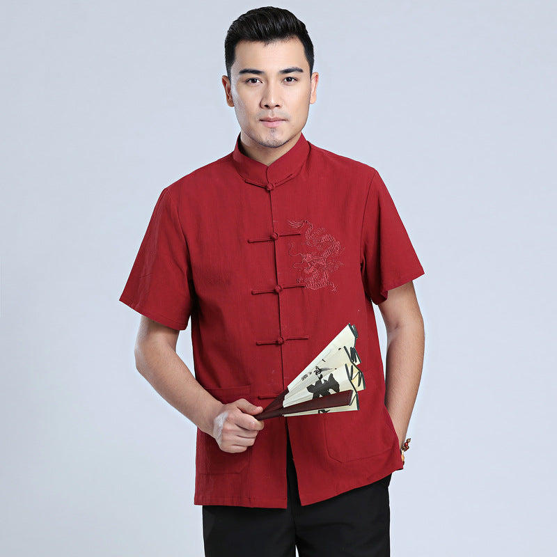Traditional Chinese Men/'s Short Sleeve Shirt with Embroidered Dragon
