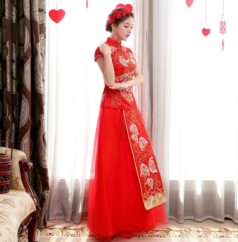 06dec07cc Cap Sleeve Phoenix & Peony Embroidery Traditional Chinese Wedding Dress