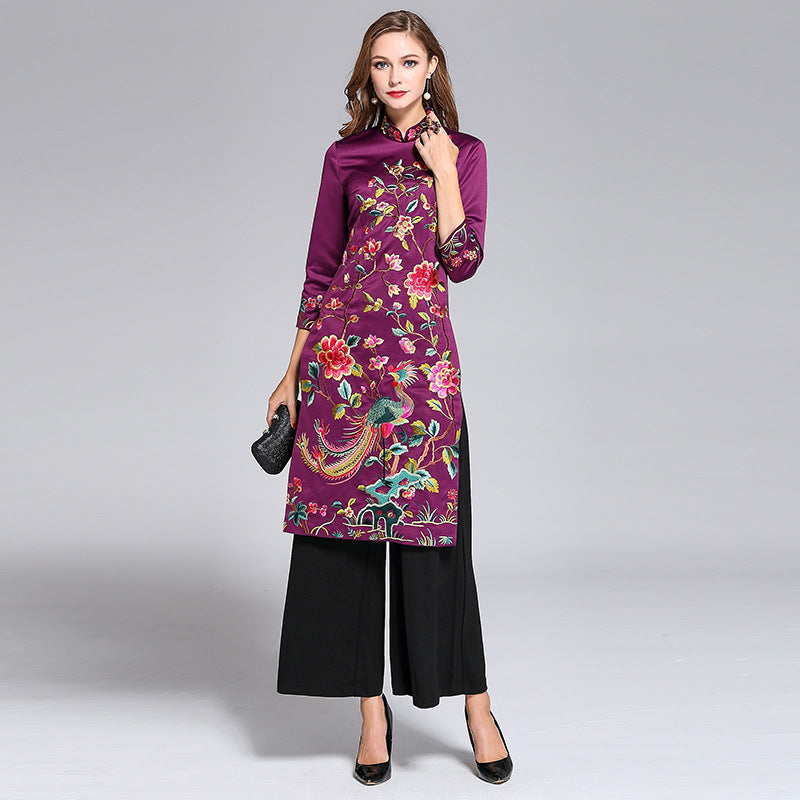 dd7af64d0 Half Sleeve Floral Embroidery Signature Cotton Full Length Ao Dai Cheongsam  with Pants