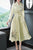 Floral Embroidery V Neck French Style Chinese Dress with Belt