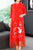 Floral Emboidery 3/4 Sleeve Cheongsam Top Chinese Dress