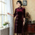 Knee Length Velvet Cheongsam Mother Dress Frog Buttons Front