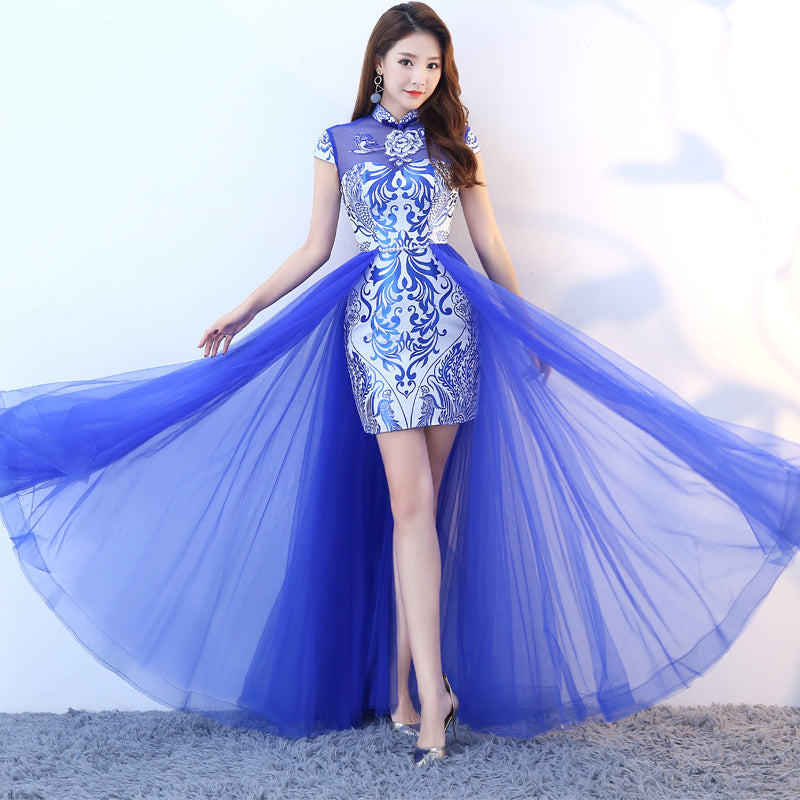 e1a5dbaf4e Blue   White Porcelain Pattern Knee Length Chinese Style Evening Dress with  Tull Skirt