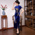 Short Sleeve Full Length Floral Appliques Velvet Cheongsam Evening Dress