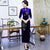 3/4 Sleeve Full Length Floral Sequins Velvet Cheongsam Mother Dress