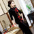 Floral Embroidery Tea Length Thick Velvet Cheongsam Mother Dress
