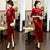 Full Length Velvet Cheongsam Mother Dress with Handmade Floral Sequins
