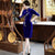 Half Sleeve Floral Sequins Knee Length Velvet Cheongsam Mother Dress