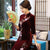 Half Sleeve Floral Sequins Tea Length Velvet Cheongsam Mother Dress