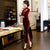 Half Sleeve Floral Sequins Full Length Thick Velvet Cheongsam Mother Dress