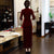 Illusion Neck Velvet Cheongsam Evening Dress with Sequins