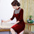 Knee Length Velvet Cheongsam Mother Dress with Sequins