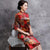 Half Sleeve Knee Length Floral Velvet Cheongsam Qipao Dress