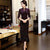 Half Sleeve Keyhole Neck Tea Length Velvet Cheongsam Mother Dress