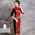 Knee Length Velvet and Floral Brocade Cheongsam Evening Dress