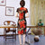 Short Sleeve Knee Length Floral Velvet Cheongsam Mother Dress