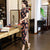 Keyhole Neck Full Length Floral Velvet Cheongsam Evening Dress