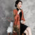 Knee Length Sleeveless Velvet Cheongsam with Chamois Shawl