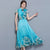 Cap Sleeve Tea Length Floral Chiffon Cheongsam Chinese Dress