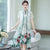 Knee Length Cheongsam Floral Chinese Costume 2-piece Suit