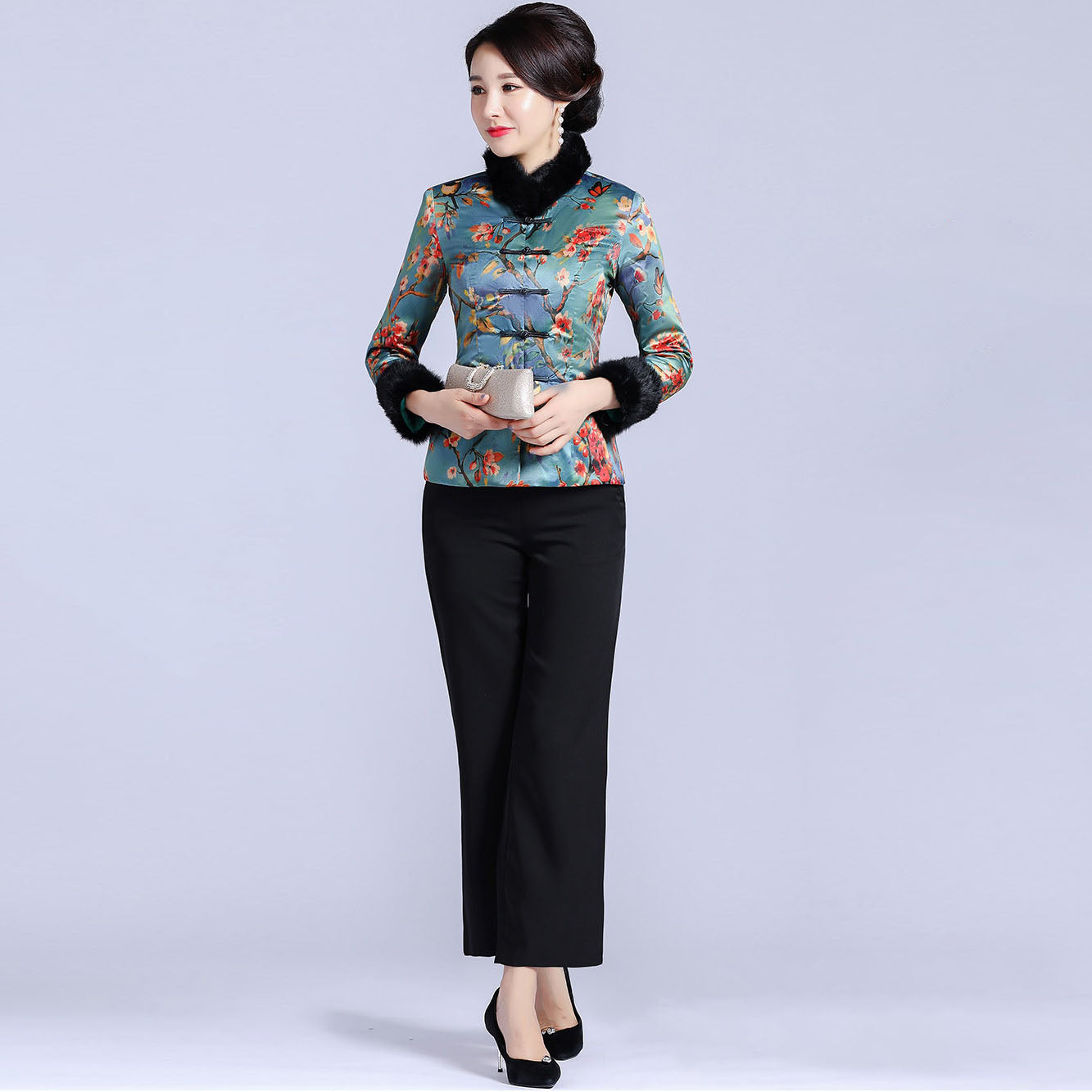 34ff15bcc Fur Collar & Cuff Brocade Chinese Jacket with Long Pants – IDREAMMART