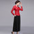 V Neck Lace Cheongsam Top with Long Pantskirt