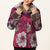 Fur Collar & Cuff Floral Embroidery Taffeta Chinese Wadded Jacket