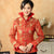 Double Collar V Neck Brocade Chinese Jacket with Strap Buttons