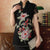 Illusion Cap Sleeve Peony Embroidery & Sequins Elastic Yarn Chinese Shirt