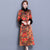 3/4 Sleeve Floral Watered Gauze Cheongsam Wadded Chinese Dress