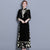 Floral Embroidery Velvet Cheongsam Top Full Length Ao Dai Dress