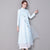 Key Hole Neck Long Sleeve Cheongsam Top A-line Casual Dress