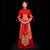 Dragon & Phoenix Embroidery Pleated Skirt Retro Chinese Wedding Suit
