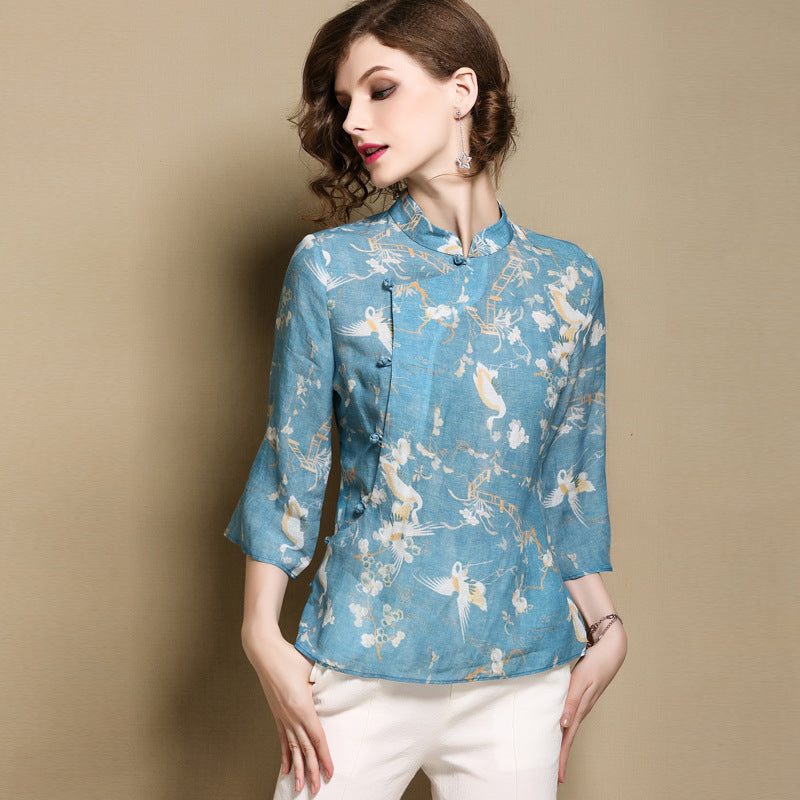 real quality good looking professional design Floral Signature Cotton Cheongsam Top Chinese Style Blouse