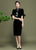 Floral Embroidery Velvet Cheongsam Chinese Style Pencil Dress