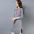 Floral Embroidery Long Sleeve Retro Cheongsam Knee Length Sweater Dress