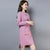 Floral Embroidery Long Sleeve Knee Length Cheongsam Bodycon Sweater Dress