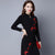 Wintersweet Embroidery Retro Cheongsam Bodycon Sweater Dress