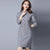Retro Cheongsam Bodycon Sweater Dress with Beading Appliques