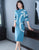 High Collar Long Sleeve Chinese Style A-line Knit Dress Sweater Dress