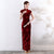 Key Hole Neck Cap Sleeve Velvet Cheongsam Evening Dress