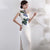 Lotus Embroidery Appliques Illusion Neck Cheongsam Evening Dress