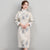 Fur Collar & Cuff Floral Brocade Cheongsam Knee Length Wadded Chinese Dress