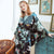 Batwing Sleeve Floral Silk Blend Loungewear Nightwear Pajamas